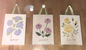 3 Pictures POTTERY BARN KIDS Flowers Floral Shabby Chic PLAQUES ART DÉCOR Wood