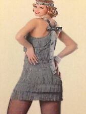 Womens Sexy 1920's FLAPPER Fancy Dress SILVER Costume Outfit MEDIUM & LARGE SIZE