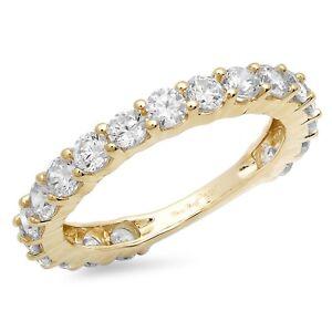 1.9ct Round Eternity Designer Bridal Wedding Anniversary Band 14k Yellow Gold