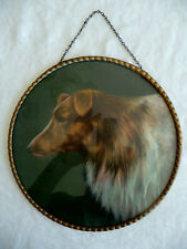 "Vintage Glass Flue Cover~PUPPY Print! 9.5"" Chromolithograph Lassie COLLIE DOG!"