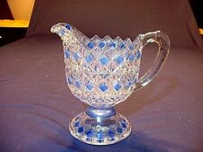 RARE Antique EAPG Blue Stained Footed Cream Pitcher