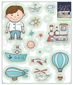 Glow Stickers Cute Boy and Vehicles Glow In The Dark Stickers Transport Vehicle