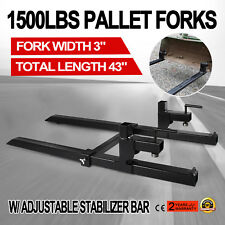 Clamp on Pallet Forks w/ Stabilizer Bar 1500lb Loader Tractor Heavy duty HOT 43""