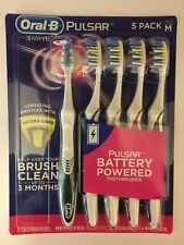5 PACK ORAL-B PULSAR 3D White Toothbrush Battery Powered M Med Medium Bristle