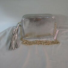 Victoria's Secret Vinyl Zip Top Crossbody Tote Purse Makeup Bag Silver Snake NWT