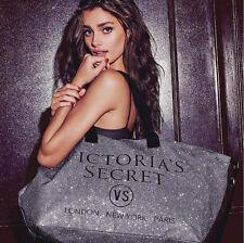 Victoria's Secret Glitter Grey Ladies Beach Shopper Book Weekend Tote Bag lbag96