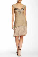 NWT $438 Sue Wong Embroidered Fringe Flapper Ruched Draped Beaded Dress,sz.0