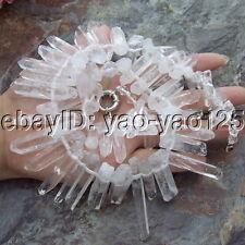 S091408  21''  9x50mm White Quartz Necklace