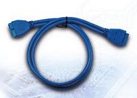 USB 3.0 Verlängerung Adapter intern 19polig Pfostenstecker auf Buchse Blau 50cm
