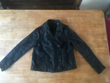 EDEIS - La Redoute Black Super Soft Sheep Nappa Leather Jacket Coat Size 8 Lined