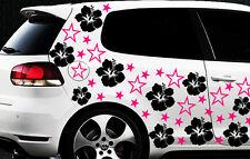 114x Auto Aufkleber Sterne Star Hibiskus Blumen m Schmetterling HAWAII WANDTATTO