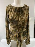 ETRO  Milano Women's Green Horse Print Long Sleeve top Size 42