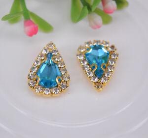 20 pcs Sew On Crystal Rhinestone diamond Faceted Glass Teardrop Jewels Button
