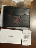 New COACH SLIM CARD CASE Black Wallet with SKULL MOTIF F76962 $98