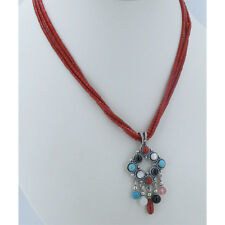 925 Sterling Silver Genuine Red Coral Turquoise  Onyx Heshei Necklace Pendant