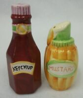 Ketchup & Mustard Bottle Ceramic Salt and Pepper Shaker Set EUC