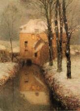 Henri Eugene Augustin Le Sidaner  Oil Painting repro The Canal, Snow 16''x20''