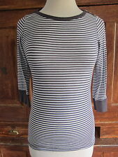 Splendid Grey White Stripe 3/4 Sleeve Top Soft T-Shirt Women's Size Small