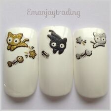 Nail Art  Decals/Stickers/ Transfers  Gold, Silver & Black Cats #80 BLE