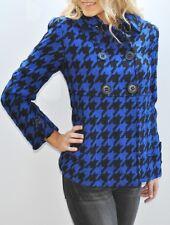New Womens Dereon Houndstooth Coat Wool Blend Peacoat Jacket Black Blue Medium M