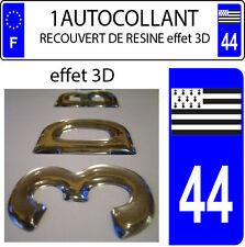 1 adesivo targa auto EFFETTO DOMING 3D RESINA BANDIERA BRETAGNA DIPARTIMENTO 44