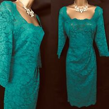 TWIGGY MARKS & SPENCERS Dress Size 14 Green Slimming Evening party F179