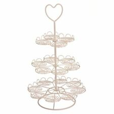 Cupcake Stand, Cream Wire, 3 Tier/18 Cups