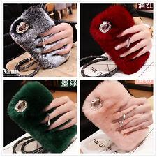 Bling Diamond Rhinestone Winter Warm Fluffy Rabbit Fur Ring Stand Case Cover