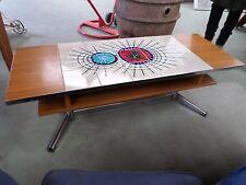 table basse année 70 bois ceramique acier