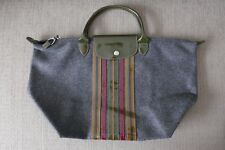 Limited Ed! EUC Auth Longchamp Bag Le Pliage Wool Medium SH Gray (France)