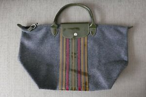 Limited Ed! EUC Auth Longchamp Bag Le Pliage Wool Medium SH Gray (France)