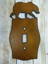 Bear Grizzly metal single switch light plate cover rustic cabin home office NEW