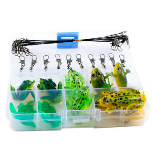 Soft Fishing Lure Bass Pike Crank Bait Topwater Frogs Swivels & Leaders Wire