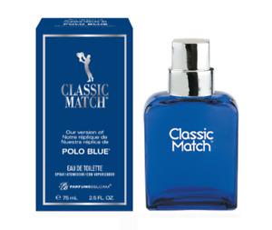 Classic Match Blue Eau de Toilette Spray for Men 2.5 oz 75ml Parfums Belcam New