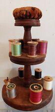 Antique Wooden Thread Caddy W Wooden spools & Velvet Pincushion