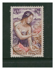 FRENCH POLYNESIA 1958 20f POLYNNESIAN GIRL ON BEACH VERY FINE USED OFF PAPER