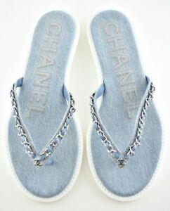 Chanel 20P Blue Denim Chain CC Logo Mule Slide Flat Flip Flop Thong Sandal 39