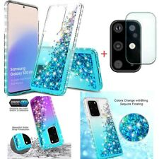 For Samsung Galaxy S20/Plus/Ultra Quicksand Hard Case Cover+Camera Len Protector