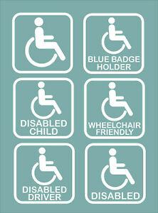 Disabled Car Window Stickers-Self Adhesive Vinyl-Disability,Handicapped Aids
