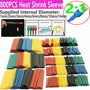 800pc/Kit Heat Sleeve Assortment Tubing Electrical Cable Tube Shrink Wrap Wire
