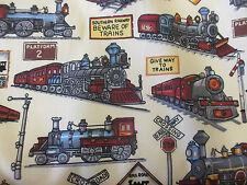 Ivory Trains & Railway Printed 100% Cotton Poplin Fabric.  Rose & Hubble Fabric
