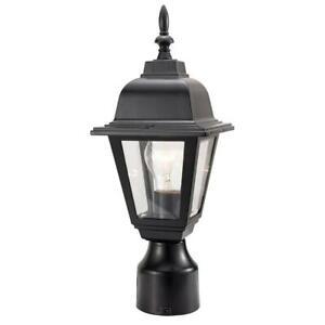 Maple Street Black Outdoor Die-Cast Post Mount Light Fixture