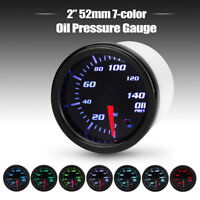 2'' 52mm Car Motor 7 Color LED Oil Pressure 0-140 PSI Gauge Meter W/ Sensor 12V