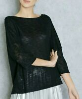 Mango black knit 3/4 sleeve top blouse NWT size EUR S, AU 8-10  (mng5)