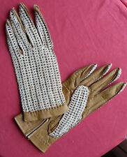 vintage gants cuir et tricot 7 1/2 peau fabrication française  NOS gloves