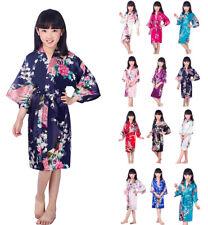 Children Kids Satin Silk Robe Kimono Bridal Bridesmaid Night Dress Gown Bathrobe