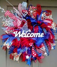 Handmade Summer 4th of July Pre Lit Deco Mesh Burlap  Wreath Light Up Door Decor