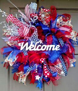 Patriotic Red White & Blue Pre-Lit Deco Mesh Burlap  Wreath Light Up Door Decor