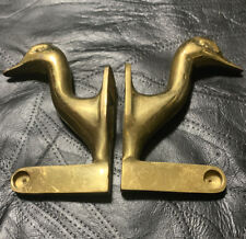 New listing Vintage Solid Brass Swan Duck Towel Rod Ends Pair.