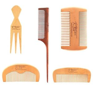 Eco Natural Wooden Detangling Handmade Antistatic Beard Hair Moustache Fine Comb